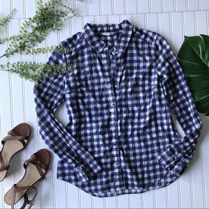Halogen button up shirt blue white checkered